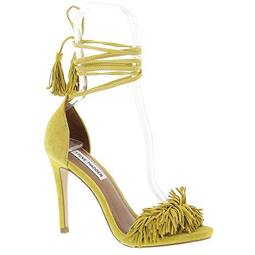 Image of Steve Madden Women's Sassey Dress Sandal, Yellow Suede, 8 M US