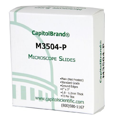 Capitolbrand?® Glass Microscope Slides, Plain, Standard Grade, Size: 3 X 1-Inch (Box Of 72) Size: Plain, Water White Portable Consumer Electronics Home Gadget
