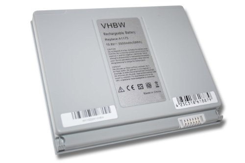 vhbw Li-Ion Batterie 5500mAh (10.8V) pour ordinateur portable Apple MacBook Pro 15' MB133B/A, 15' MB133J/A, 15' MB133J/A comme A1148.