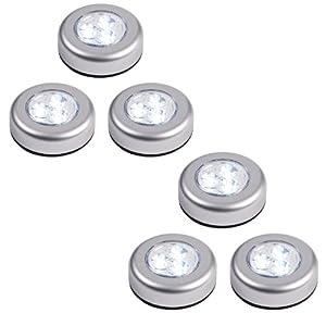 Lot de 6 lampes spots led autocollants piles de for Spot tableau sans fil