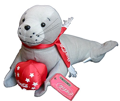 "2002 Coca Cola 13"" Plush Seal with Red Ball - 1"