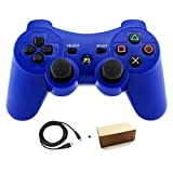 Kolopc Wireless Bluetooth Controller For PS3 Double Shock - Bundled with USB charge cord (Blue)