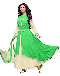 Sitaram womans georgette parrot green colour anarkali gown style semistiched material with dupatta.