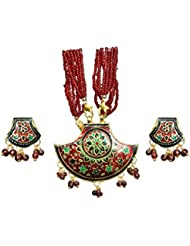 Esidham Collection Multi-Color Metal Necklace Set For Women