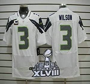 Buy Russell Wilson White Seahawks C & SuperBowl Patch On-Field Jersey Size 44 Large by ON-FIELD