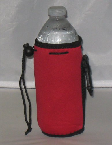 Water Bottle Koozie With Drawstring & Clip, Red front-688743