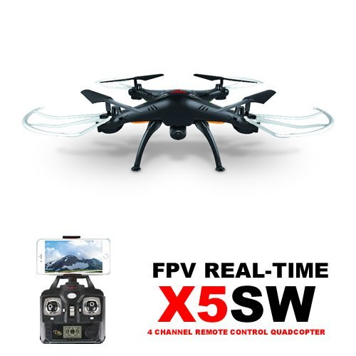 Amazingbuy® - Syma X5SW Wifi FPV Real-time 2.4G Newest RC Quadcopter Drone UAV RTF UFO with 2MP HD Camera Latest Version - Original packing gift Box + 4 extra main propellers + 1 Mobile phone holder + Tracking Number - Black color - With Amazingbuy LOGO