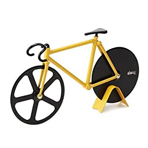 Fixie Black Yellow Pizza Cutter by Animewild