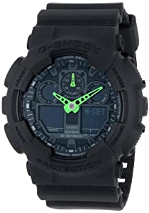 G-Shock GA-100 Neon Highlights Trending Series Men's Luxury Watch - Black/Green / One Size