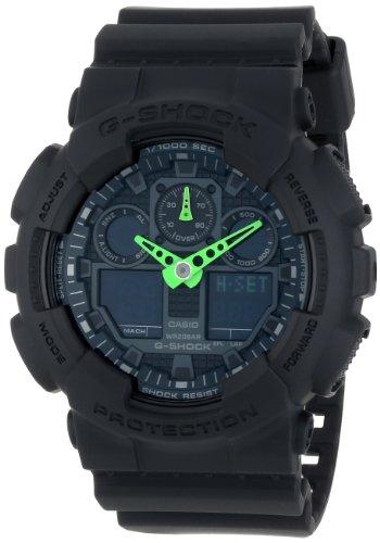 G-Shock GA-100 Neon Highlights Trending Series Men's Luxury Watch - Black/Green / One Size
