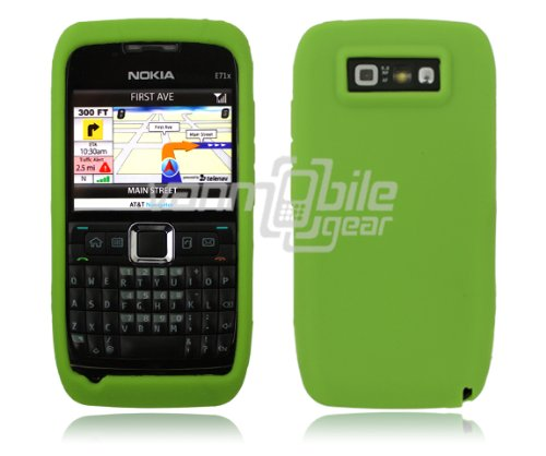 Vmg 2-Item Combo For Nokia E71 E71X Cell Phone Soft Gel Silicone Skin Case Cover - Green + Lcd Clear Screen Saver Protector [By Vanmobilegear] *** Special Promo Price (While Supplies Last) ***