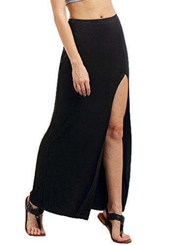 Verdusa Women's Solid Sexy High Waist Side Split Maxi Skirt Black L (Long Split Maxi Skirt compare prices)