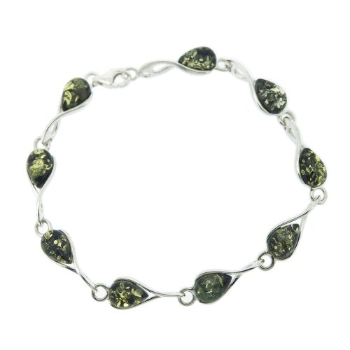 Nova-Silver-Classic-Amber-Twist-Bracelet-in-Green-Amber-of-19cm