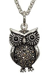 Small Genuine Marcasite Owl Pendant with Chain