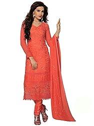 Rozdeal Latest Pure Chiffon Orange Color Dress Material