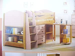 MIDSLEEPER CABIN BED IN PINK & PINE WITH CHEST DRAWERS, BOOKCASE AND DESK