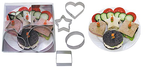 R & M Industries International Heart, Star, Circle and Square Geometric Shape Sandwich Cutter Set, Multicolor (Sandwich Cutter Square compare prices)