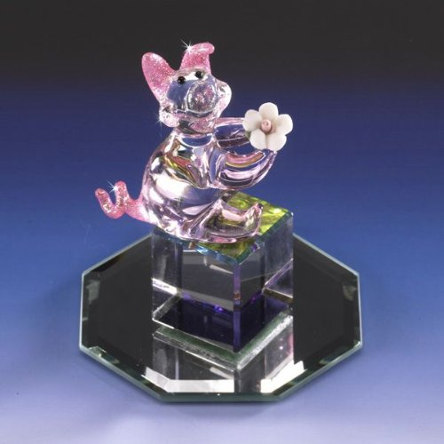 Collectible Petunia Pig Crystal Glass Figurine Miniature Crystal Cut Base Porcelain Rose NIB