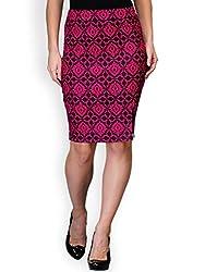 Purplicious Cotton Lycra Printed Pencil Skirt