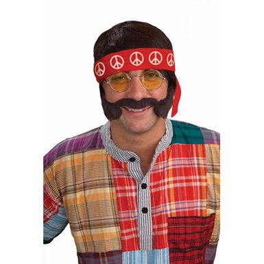 Mens Halloween Hippie Costume Kit
