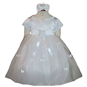 New Butterfly Tulle Flower Girl Pageant Dress plus Headband (White Ivory or Pink) 6M to 24M