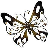 Papillon métal à suspendre en métal filigrané, aspect bronze, décorée de pierres en verre jaune/doré, env. 35 x 31 cm
