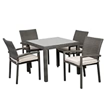 Hot Sale Atlantic 5-Piece Liberty Square Dining Set, Grey with Off-White Cushions