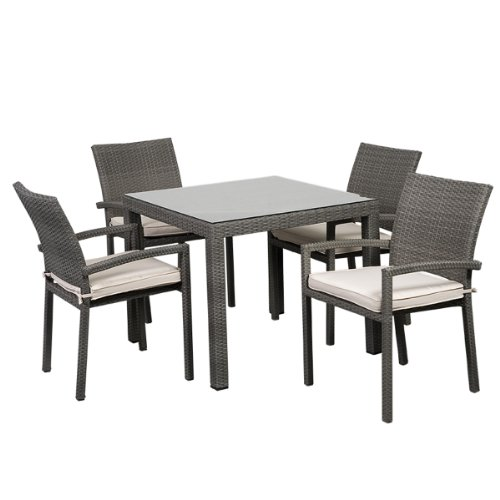 Atlantic 5-Piece Liberty Square Dining Set, Grey with Off-White Cushions picture