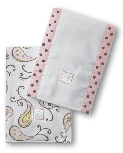 Swaddledesigns Baby Burpies, Triplets Paisley (Set Of 2 In Pastel Pink)