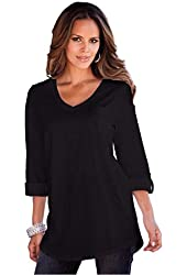 Roamans Women's Plus Size Boyfriend Slub Tunic