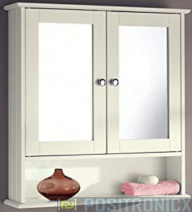 cream two door bathroom wall cabinet with shelf and mirror