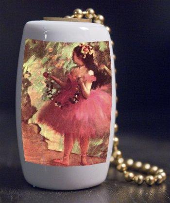 Fine Art Dancer in Rose Dress by Degas Porcelain Fan / Light Pull