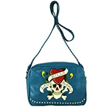 Ed Hardy Lisette Love Kills Slowly Crossbody Bag - Blue