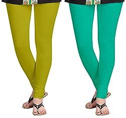 Aannie Women's Cotton Slim Fit Leggings Combo Pack of 2(X-Large,Khaki,Rama)