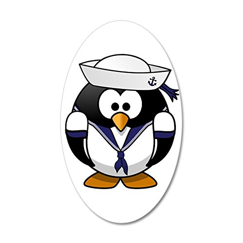 20x12 Oval Wall Vinyl Sticker Little Round Penguin - Navy Sailor