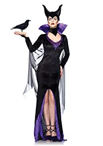 Leg Avenue Disney 3Pc.Maleficent Dress Stay Up Collar and Head Piece, Black, Medium