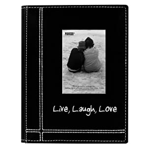 """Pioneer Sewn Leatherette Embroidered """"Live, Laugh, Love"""" Frame Cover Brag Book, Black"""