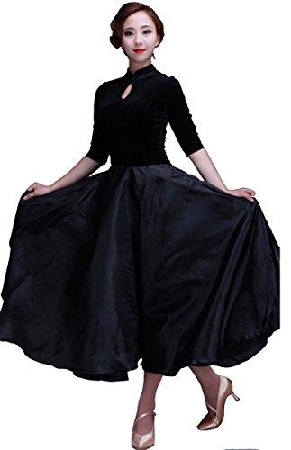 [5310 StarDance Ballroom Smooth Velvet Dance Costume Dress (US0_2(M), Black)] (Dancesport Standard Costume)