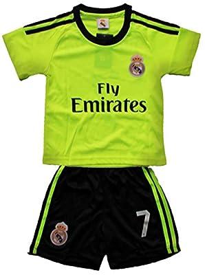 2015/2016 Real Madrid Cf Lime Away Cristiano Ronaldo 7 Football Soccer Kids Jersey And Short