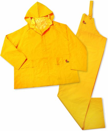 3-Piece Heavy-Duty PVC Yellow Rain Suit-2X 35MM 3PC YEL RAINSUIT