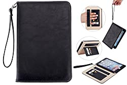 iPad Mini 4 Case Cover Super Functional Series Premium Leather for Apple iPad Mini 4 Tablet Accessories with Card Slots, Elastic Strap and Auto Sleep/Wake Function (black)