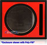"Absolute Pseb12r (Black/red) Single 12"" Ported Subwoofer Enclosure with Red High Gloss Face Board and Black Carpet"