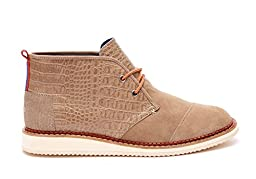 TOMS Men\'s Mateo Chukka Boot Desert Taupe Croc Embossed Leather Boot 8 D (M)