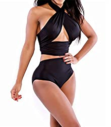 FemPool Women Classic Clean Ruffle Super-strappy Cross Over Twist Halter Neck Non-padded High Waist Tankini Sets Swimsuit