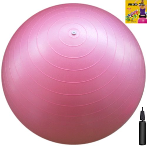 Fitness Ball: Pink, 26in/65cm Diameter, Includes 1 Ball +1 Pump + 1 Page Instruction Chart. No instructional DVD. (Exercise Gym Swiss Stability Ball)