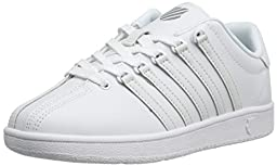 K-Swiss Classic Vintage GS Tennis Shoe (Big Kid),White/White,5.5 M US Big Kid