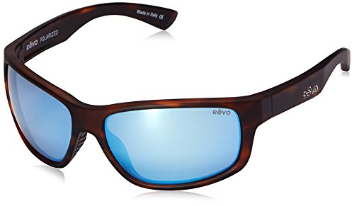 Revo Baseliner RE 1006 02 BL Polarized Wrap Sunglasses, Brown Crystal/Blue Water, 61 mm