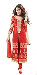 Om Creation Red Embroidered cotton Salwar Suit HS17