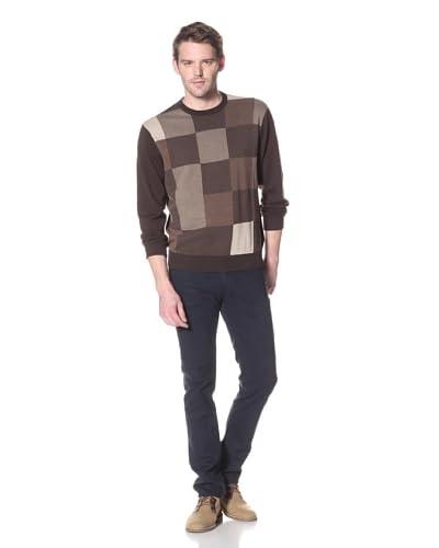 Alex Cannon Men's Checker Box Crew Sweater  [Brownie]