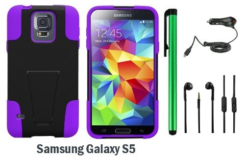 Samsung Galaxy S5 Premium Pretty T-Stand Design Protector Hard Cover Case (2014 March Released; Carrier: Verizon, At&T, T-Mobile, Sprint) + 3.5Mm Stereo Earphones + Car Charger + 1 Of New Assorted Color Metal Stylus Touch Screen Pen (Purple / Black)